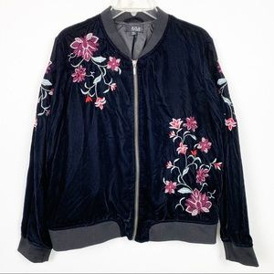 ANA Velvet Embroidered Bomber Jacket Black XXL I